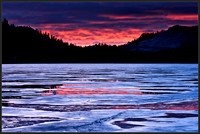 Walking on thin ice - Sunset over Frozen Tenaya Lake