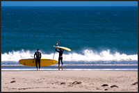 Surfers at Drakes Beach