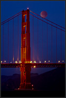 'Once in a red moon' - Moon rolls over the Golden Gate Cable